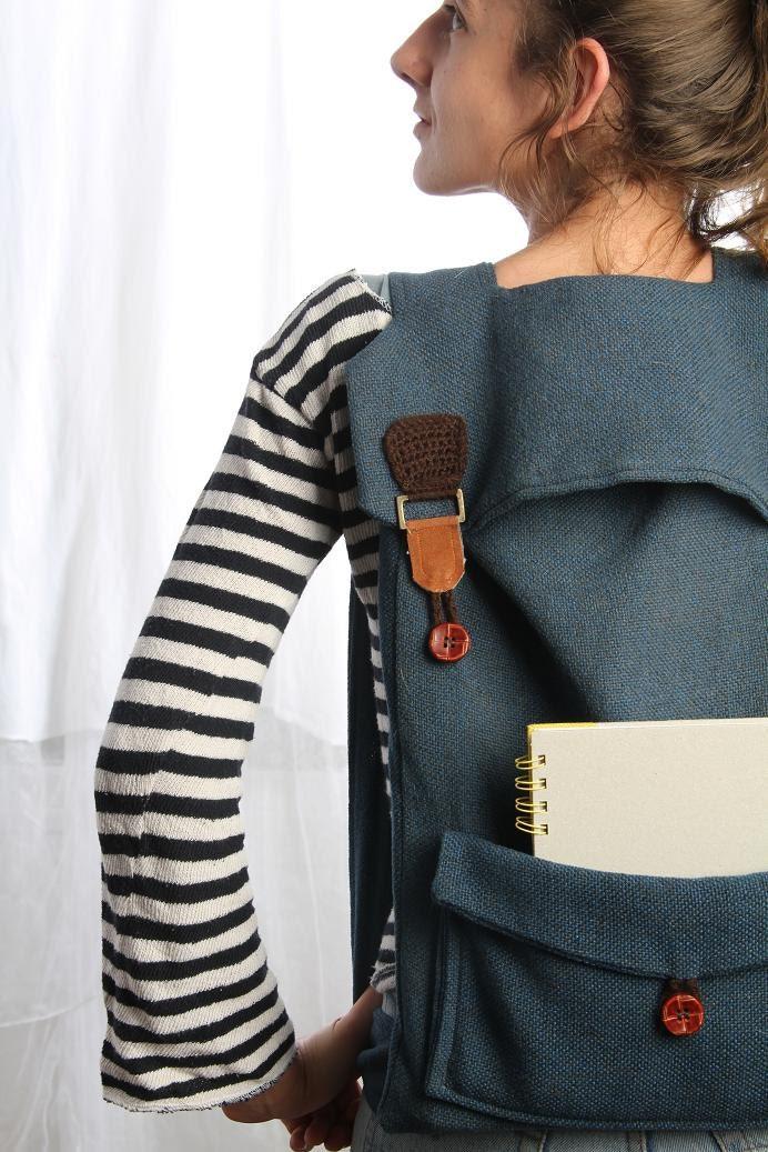 Blue Laptop Backpack, Canvas Backpack, School Backpack, Blue Men Backpack, Large Backpack, Back to School, Fabric backpack, Women Backpack