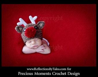 Christmas Hat, Reindeer Hat, Rudolf Hat, Newborn Reindeer, Baby Reindeer, Holiday Hat, Newborn Photo Prop, Christmas Prop, Crochet Hat