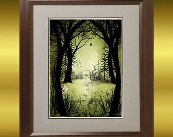 Fantasy Art Tree Print -- Par Amour -- Trees and Dragonflies