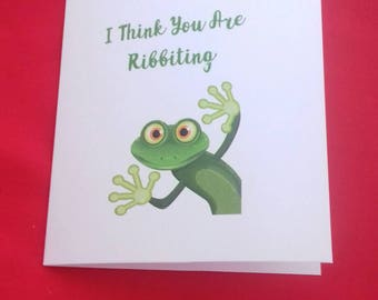I Think You Are Ribbiting Card, Valentines Day Card, Frog Lover, Wildlife Cards,  Play On Words Cards, Birthday Card For Husband, Wife Cards