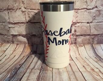 Custom monogrammed baseball tumbler/ 20oz tumbler/ baseball cup