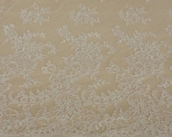 Ivory lace fabric, Embroidered lace, French Lace, Wedding Lace, Bridal lace, White Lace, Veil lace, Lingerie Lace, Alencon Lace KSBY61420C
