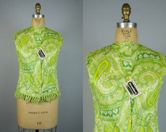 60s Green Paisley Blouse w/ Tags