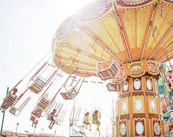 Nostalgic Theme Park Photography // Large Print Carousel // Theme Park Photography Kids Room Wall Art // Kids Room Art Coney Island Rides