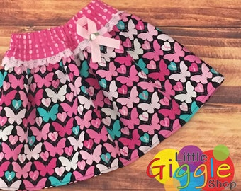 Breast Cancer Skirt, Breast Cancer Awareness, Breast Cancer Ribbon, Cancer Survivor, Cancer Support, Girls Breast Cancer Skirt, Handmade