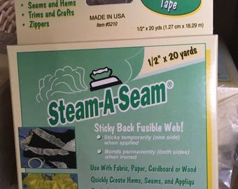 """Steam-A-Seam Sticky Back Fusible Web 1/2"""" x 20 yds ROLL"""