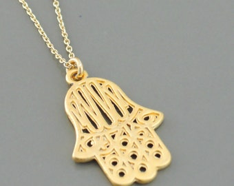 Hamsa Hand Necklace - Gold Necklace - Hand Necklace - Boho Jewelry - Beachy Neclace - Gold Hand Necklace - handmade jewelry