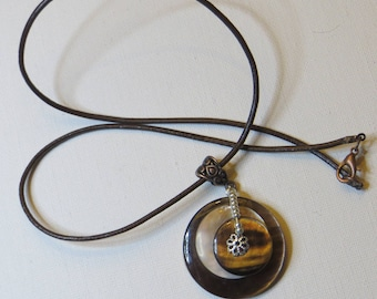Brown buttons necklace mother of Pearl vintage - #1122