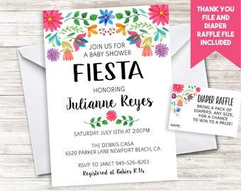 Fiesta Baby Shower Invitation Invite Digital 5x7 Sprinkle Floral Spanish Flowers Mayo Ole