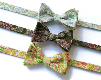 Paisley Bow Tie~Mens Self Tie Bow Tie~Mens Pre Tied~Anniversary Gift~Wedding Tie~HoBo Ties~Cotton Bow Tie~Mens Gift~Wedding~Bow Tie
