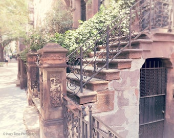 New York Photography Print, NYC Wall Art, New York City Photo, Brownstone Building, Stairs Picture, Manhattan, 5 x 7 Print, 16 x 20 Print