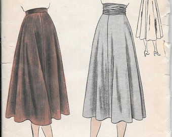 Vintage 1950s Vogue Sewing Pattern 6160- Misses' Skirt waist size 24 hip 33