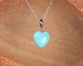 Aventurine necklace - heart necklace - mint green heart necklace - an aventurine heart  on a sterling silver chain