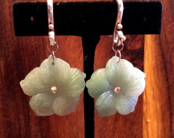 Pair Adventurine Carved Flower Earrings with CZ on Tibetan Silver Plated Hooks For Stretched Ears