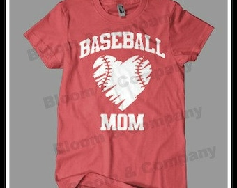 CUSTOM Baseball Mom Heart Ball T-Shirt ASHERANN4
