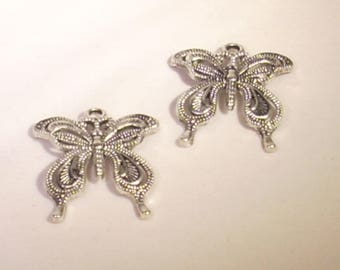 Set of 2 striated silver 25mm Butterfly charms