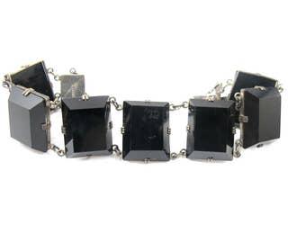 Art Deco Black Quartz Bracelet, Japanese Black Rock Crystal Sterling Silver Link Bracelet. 1940's Rock Crystal Jewelry