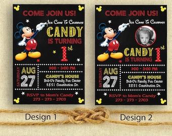 MICKEY Invitation, Mickey Birthday Invitation, Text Invite, Birthday Invite, Mickey Invitation, Mickey Digital Printable JPG File