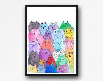 Cat Print Colorful Peeking Cats Print Watercolor Painting Art Rainbow Cat Print Wall Art Cat Lover Gift Unframed Art Print