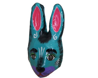 Mexican Paper Mache Bunny Animal Mask Hand Painted
