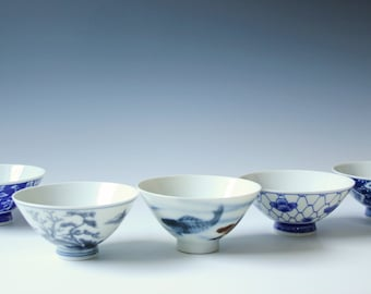 5 vintage Chinese porcelain blue and white bowls with assorted pattern - koi fish, landscape, floral painting