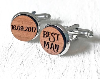 Best Man Cufflinks, Personalized Wedding Cufflinks, Best Man Gifts, Groomsmen Cufflinks, Usher Cufflinks, Custom Engraved Cufflinks