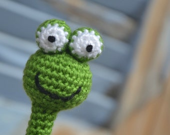 Pencil topper, amigurumi frog, crochet animal head pencil cozy