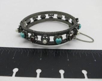 Pewter bangle bracelet Fake Pearl Turquoise