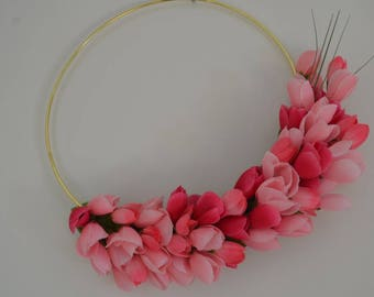 Mini tulips, Tulip Hoop Wreath, Modern Hoop Wreath, Spring Decor