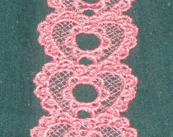 Pink Heart Shaped Bookmark, Lace, Machine Embroidery