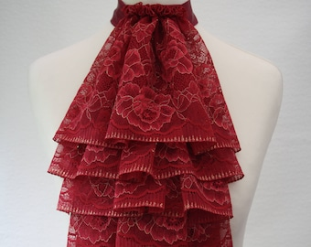 Wine red with gold lace jabot FREE UK SHIPPING