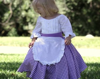 19th Century Inspired Costume Dress - Colonial, Prairie, Pioneer, Tea Party Gown, Halloween Costume - 12m, 18m, 2T, 3T, 4T - with Apron