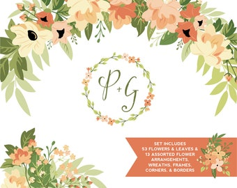 Peach & Green Floral ClipArt | Leaves Wreaths Branches and Borders for Stationery, Wedding Invites, and Products | Greenery