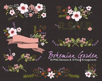 Watercolor Flower Clipart, Wedding floral Clip art, Floral Bouquet Clipart, wedding flowers clip art, Clip Art- Bohemian Garden