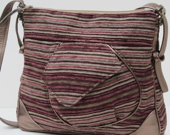 LARGE SHOULDER BAG by Elizabeth Z Mow  Fabric and Leather Yipe s Stripes