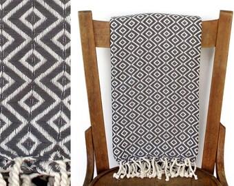Sofa Throw pishtimal türkische Handtuch Couch werfen Beach Blanket handgewebter Baumwolle Türkisch Bad Handtuch Fouta Tuch Strand Wrap grau LALE DIAMOND
