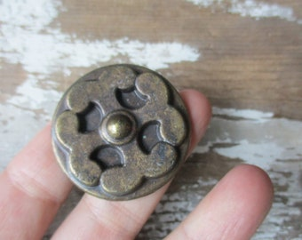 """Vintage knob pull  new old stock bronze tone hardware 1950-60s Hollywood Regency style NOS """""""
