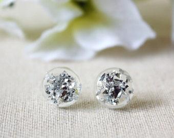 Modern / earring / silver / Silver Dust Stud Earrings, Simple Stud Earrings, Cool Earrings, Simple Silver Earrings, Silver Stud Earring