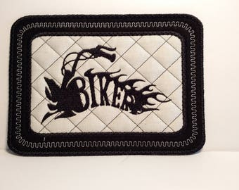 Motorcycle Coaster, Fathers Day Gift From Daughter, Biker Gifts, Quilted Mug Rug, Man Cave Gifts, fabric Drink coaster, Motorcycle Gifts for