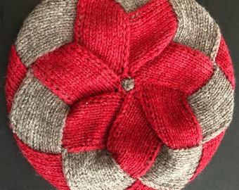 Vintage red and tan knitted wool tam