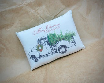 Christmas truck pillow | Christmas decor | Antique delivery truck | Gift for him | Stocking stuffer | farm truck | Farmhouse decor