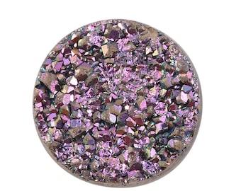 Pink Dawn Drusy Loose Gemstone Round Cabochon 1A Quality 8mm 1.20 cts.