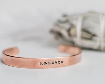 Namaste cuff bracelet. Yoga bracelet. Hand stamped quote bracelet. Inspirational quote bracelet. Yoga gift. Namaste quote bracelet. RTS