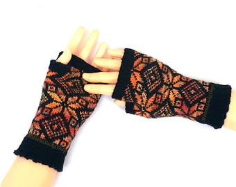 Orange Black Hand Knitted Fingerless Gloves Arm Warmers Texting Gloves Patterned Wool Mittens Driving Gloves Hand Warmers Wrist Warmers Gift
