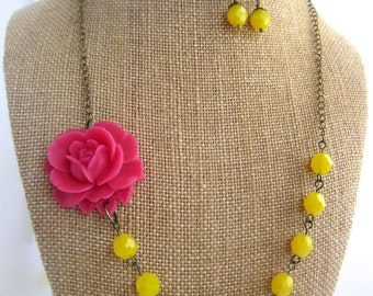 Pink Flower Necklace Statement Necklace Pink and Yellow Jewelry handmade Bridesmaid Gift Rustic Chic Wedding Jewelry