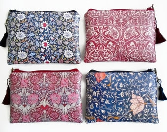 William Morris Inspired Waterproof Ladies Wallet, Glasses case, Make-up Bag, Cosmetic Pouch, Coin Purse.