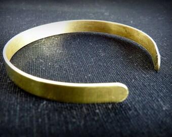 Thin raw brass Cuff Bracelet