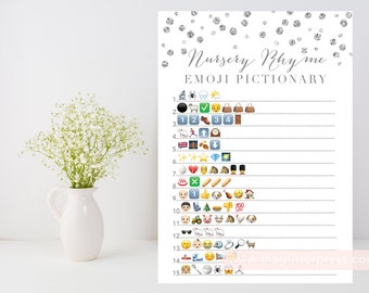 Nursery Rhyme Quiz, Emoji Pictionary printable game, Silver baby shower game, silver confetti, baby book downloadable, INSTANT DOWNLOAD 010