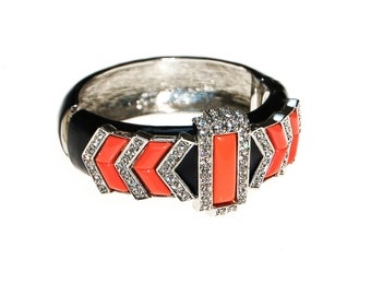 Kenneth Lane Black and Coral Bracelet