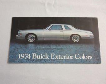 1974 Buick Exterior Color Sales Brochure Catalog LeSabre Apollo +